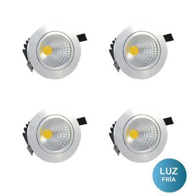 Set 4 focos embutido LED cob 10 W  luz fría
