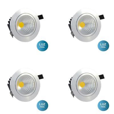 Set 4 focos embutido LED cob 7 W luz fría