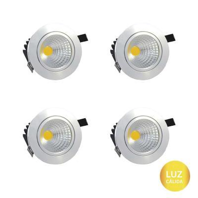 Set 4 focos embutido LED cob 7 W luz cálida