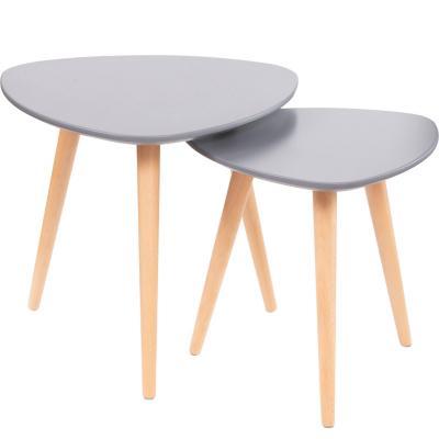 Set 2 mesas laterales toronto grises 43x48 cm