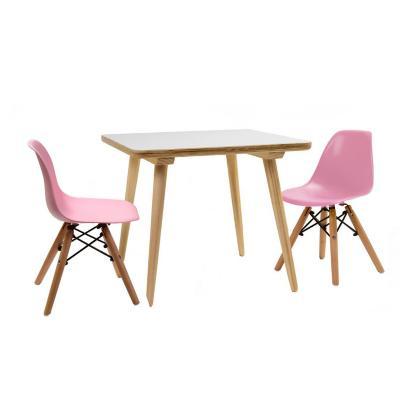 Set  infantil mesa cuadrada blanca 2 sillas rosado
