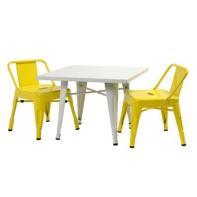 Set Iinfantil mesa blanca y 2 sillas Amarillo