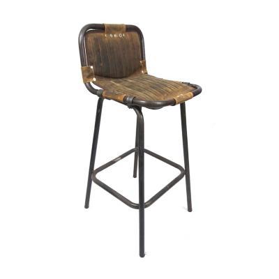 Silla Bar Metal Cuero 42x48x98 cm