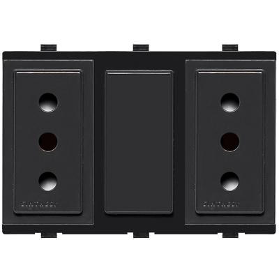 Tomacorriente Duplex 10A 250V~ 2P+T  17 Noir