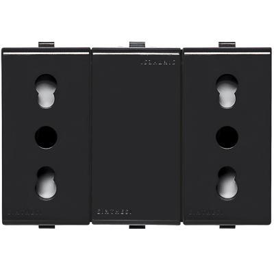 Tomacorriente Duplex 10/16A 250V~ 2P+T  22 Noir