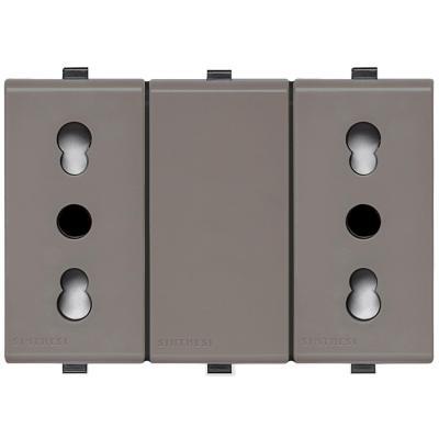Tomacorriente Duplex 10/16A 250V~ 2P+T  22 Grey