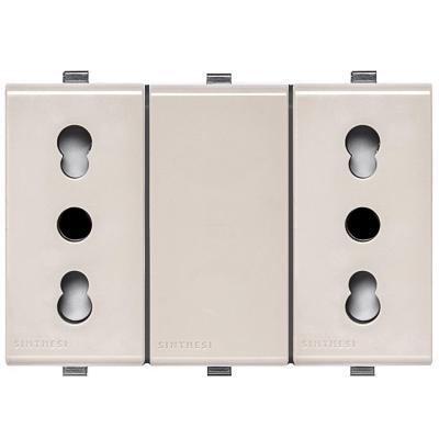 Tomacorriente Duplex 10/16A 250V~ 2P+T  22 Beige