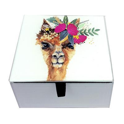 Caja decorativa vidrio alpaca 10x10,5x6 cm