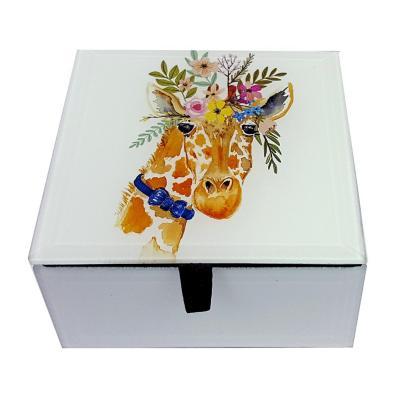 Caja decorativa vidrio jirafa 10x10,5x6 cm