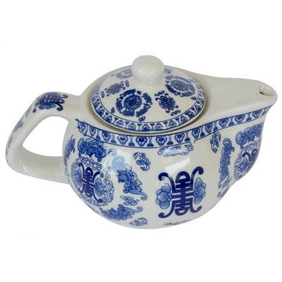 Tetera de cerámica con filtro Blanco/ Azul 250 ml