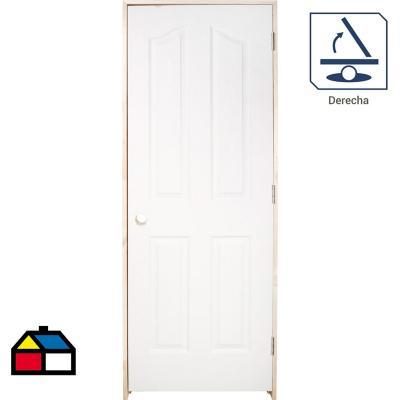 Puerta Lista HDF Kiyen Precolgada apertura derecha 70 x 200cm
