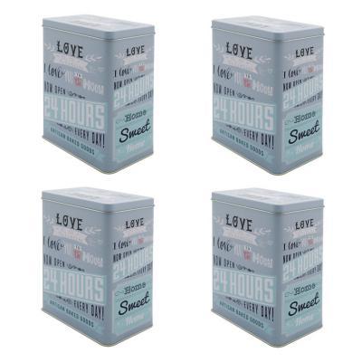 Set 4 contenedores para cocina love celeste