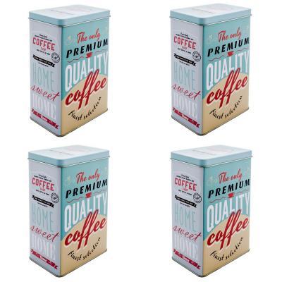 Set 4 contenedores para cocina coffee celeste
