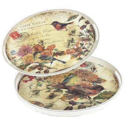 Set de 2 Bandejas Ovaladas Aves 46x31 cm