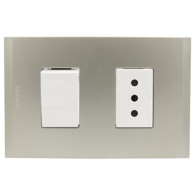 Interruptor 10ax + Toma 10a bl pl1+1p perla nóbile