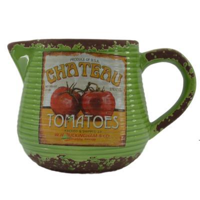 Jarra de cerámica diseño tomate 16 cm verde