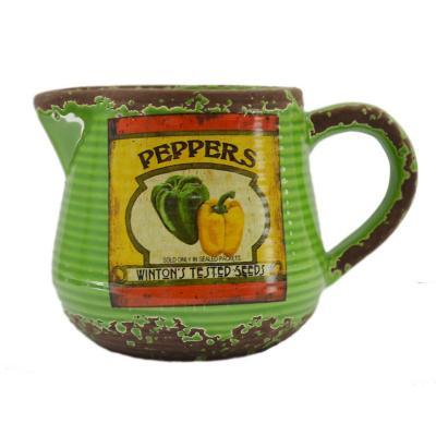 Jarra de cerámica diseño pimentón 16 cm verde
