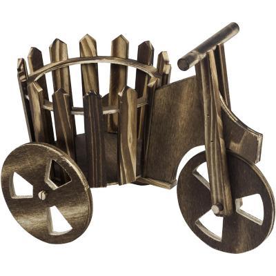 Porta maceta bicicleta de madera 26x20 cm