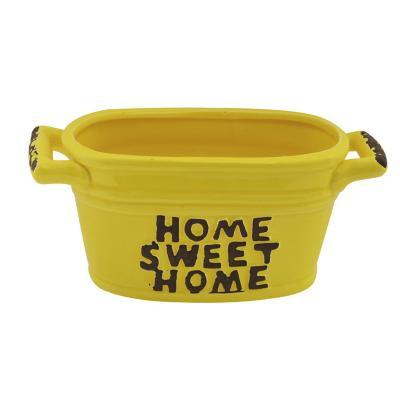 Maceta de cerámica decorativa amarillo