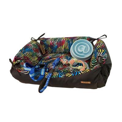 Pack bienvenida M perro cama+juguete+plato+arnés