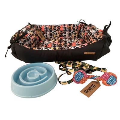 Pack bienvenida S perro cama+juguete+plato+arnés
