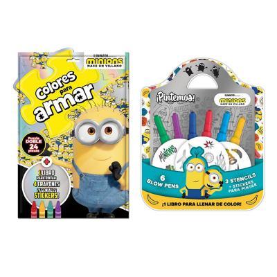 Set minions puzzle libro stickers y crayones