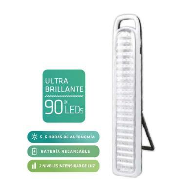 Lámpara LED emergencia recargable 2 niveles de luz
