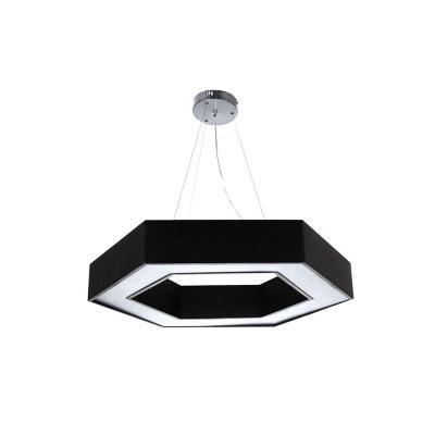 Lámpara colgante hexagonal luz Neutra led 48 W negra