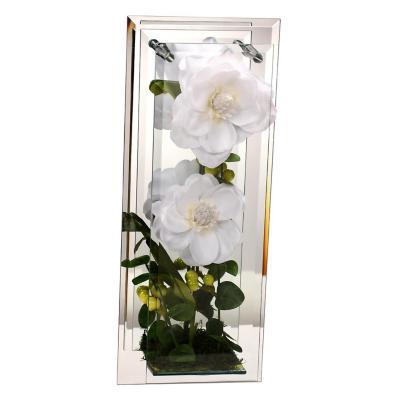 Florero adorno de cristal 38 cm Magnolia blanca