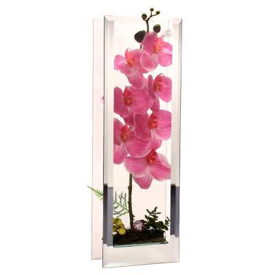 Florero adorno de cristal 48cm Orquídea fucsia