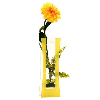 Florero adorno de cristal 44cm Dalia amarillo
