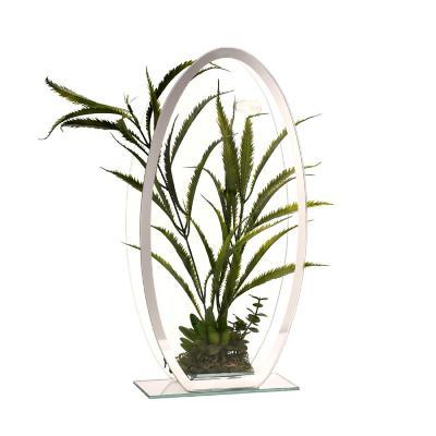 Florero adorno de cristal 39 cm Plantas verde