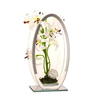 Florero adorno de cristal 20 cm Lilium blanca