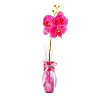 Florero adorno de cristal 40 cm Orquídeas Fucsia