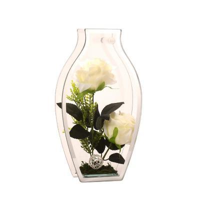 Florero adorno de cristal 28cm Rosa Blanca