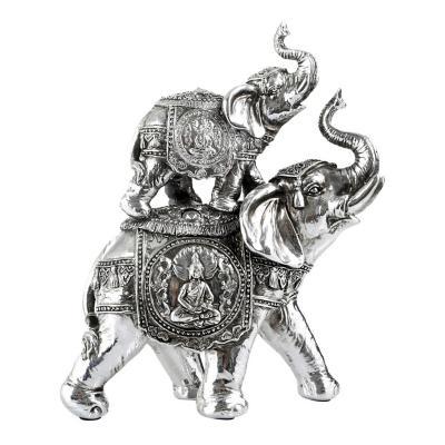 Figura Decorativa Elefantes Jaipur Doble