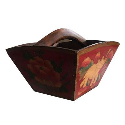 Canasto Tibetano 33x33x24 cm rojo