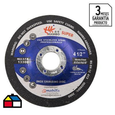 """Disco de desbaste para acero inoxidable 4,5""""x6 mm"""