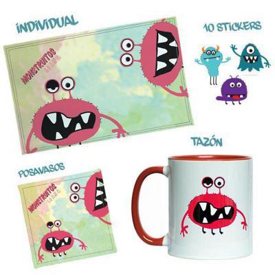Pack Individual+Tazón+Sticker Monstruitos Ciana