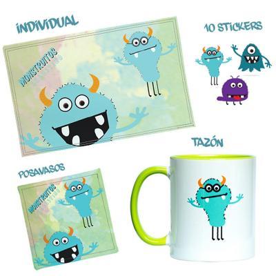 Pack Individual+Tazón+Stiker Monstruitos Celestino