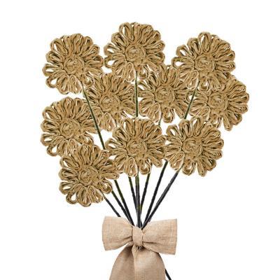 Pack 10 varas flores de abacá color natural  30 cm