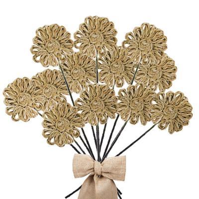 Pack 12 varas flores de abacá natural 25 cm