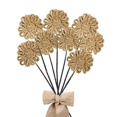 Pack 8 varas flores de abacá color natural  38 cm