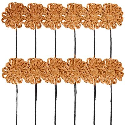 Pack 12 varas flores de abacá naranjo 25 cm