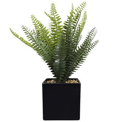Planta Decorativa Artificial Helecho Maceta Negra