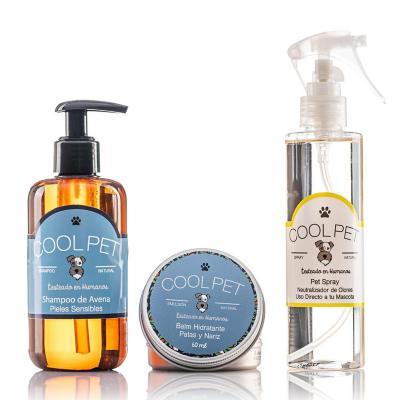 Pack shampoo avena 250 ml + Pet spray 200 ml + Balm de karité 60 ml para perros y gatos