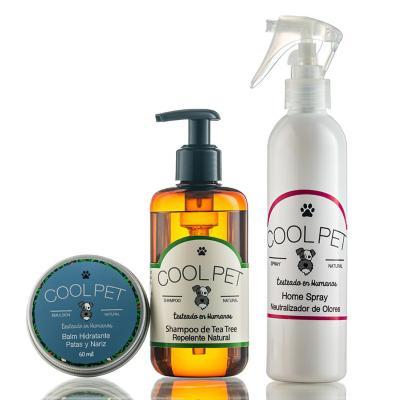 Pack shampoo teatree 250 ml + Home spray 250 ml + Balm de karité 60 ml para perros y gatos