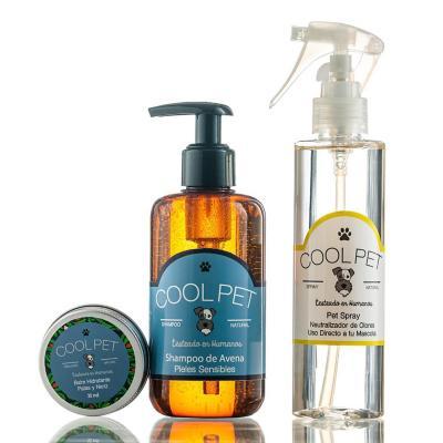 Pack shampoo avena 250 ml + Pet spray 200 ml + Balm de karité 30 ml para perros y gatos