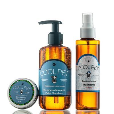Pack shampoo avena 250 ml + Higienizante SOS 150 ml + Balm de karité 30 ml para perros y gatos