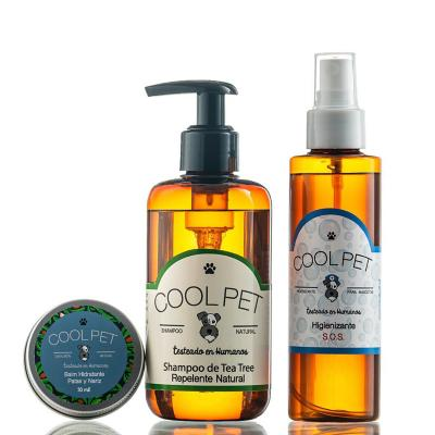 Pack shampoo teatree 250 ml + Higienizante SOS 150 ml + Balm de karité 30 ml para perros y gatos